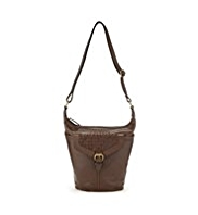 M&S Collection Leather Weave Design Flap Bucket Bag