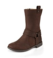 Leather Strap Calf Length Boots