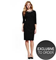 M&S Collection Diamanté Collar Ponte Dress