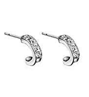 M&S Collection Platinum Plated Pave Diamanté Hoop Earrings