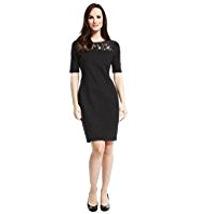 M&S Collection Sequin Embellished Cut-Out Yoke Shift Dress