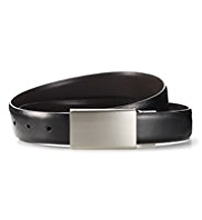 Coated Leather Rectangular Plaque Buckle Reversible Belt