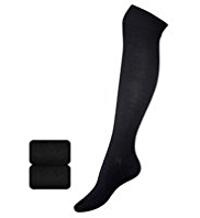 2 Pairs of Cotton Rich Plain Knee High Socks