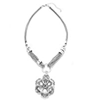 Per Una Silver Plated Diamanté Chain Floral Pendant Necklace
