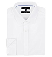 Autograph Pure Cotton Plain Poplin Slim Fit Shirt