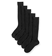 5 Pairs of Cotton Rich Long Ribbed School Socks