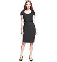 M&S Collection V-Neck Panelled Crêpe Shift Dress with Bow Belt