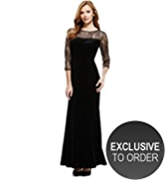 M&S Collection Floral Lace Yoke Velour Bodice Maxi Dress