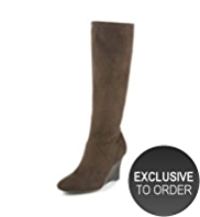 M&S Collection Faux Suede Almond Toe Stretch Long Wedge Boots