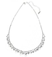 M&S Collection Pearl Effect & Diamanté Cup Chain Necklace