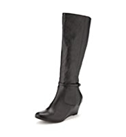 M&S Collection Buckle & Strap Wedge Long Boots with Insolia® & Stretch Zip