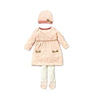 Autograph Cotton Rich Animal Knitted Dress, Hat & Tights Outfit