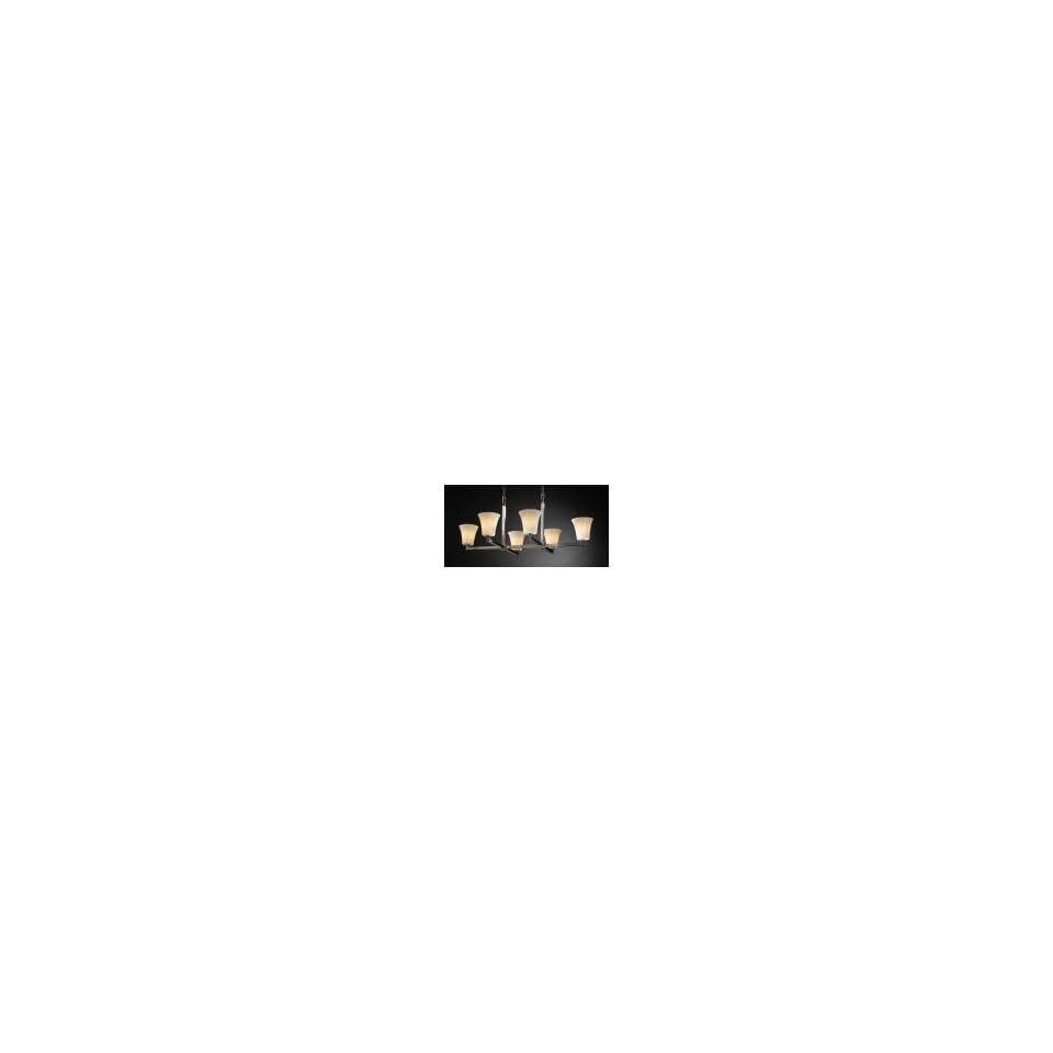 Justice Design Group POR 8826 20 WAVE MBLK Modular Limoges 6 Light Single Tier Chandelier in Matte Black with Wave glass