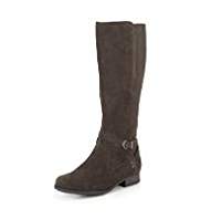 Footglove™ Mock Suede Panelled Wide Fit Riding Long Boots with Stretch Zip