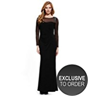 M&S Collection Beaded Shoulder Mesh Yoke Maxi Dress