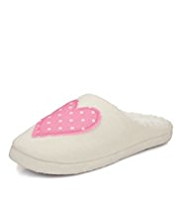 Per Una Spotted Heart Appliqué Mule Slippers