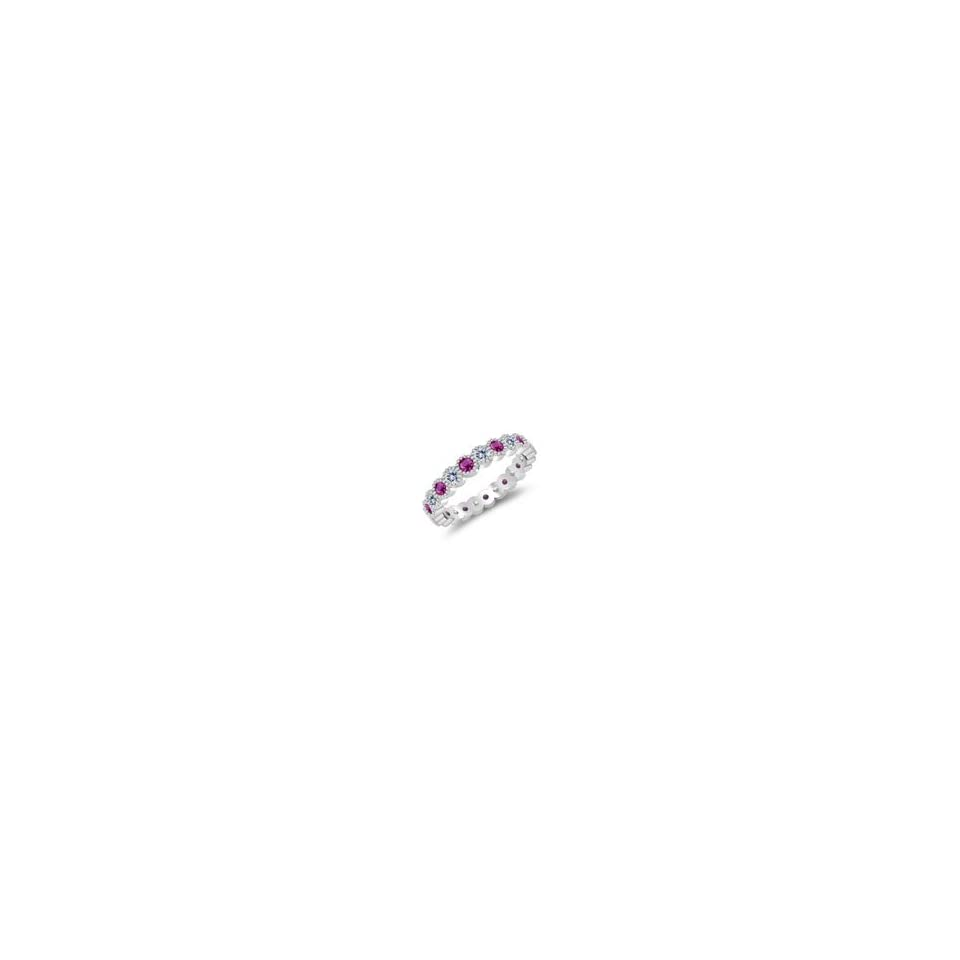 Cts Pink Sapphire Eternity Wedding Band in 14K White Gold 7.0 Jewelry