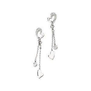 Genuine IceCarats Designer Jewelry Gift 14K White Gold Diamond Heart Earring. Pair 1/10Cttw Diamond Heart Earrings In 14K White Gold