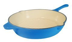 Fancy Cook Enamel Cast Iron France Blue Deep Skillet 12-Inch. (Deep Dish Cast Iron Frying Pan compare prices)