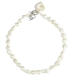 "Meg Carter Designs Mother of Pearl Nuggets, Freshwater Pearl and Small Trocus Shell ""Lexington Single"" Necklace"