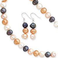 Sterling Silver Multi-colored Freshwater Cultured Pearl 3 Piece Set - QH970SET
