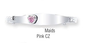 JR Jewellery Sterling Silver Maids Childs Identity Expandable Bangle With Pink CZ Heart 0272