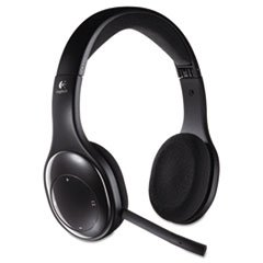 * H800 Binaural Over-The-Head Wireless Headset, 4 Ft Range, Black