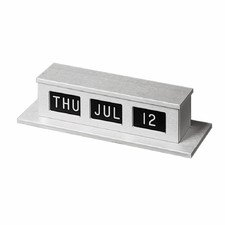 MMF Industries Double-Faced Self-Storing Counter Calendar, 11 x 2.5 x 4 Inches, White Lettering with Black Background, Silver (286074227)