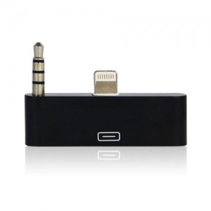 2020Products AUDIO SUPPORTED ADAPTER 8-pin/3.5mm to 30-Pin iPhone 5, iPod Touch, iPod Nano- Non-Retail Packaging - Black