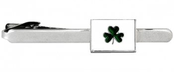 Irish Shamrock Rhodium Plate Tie Clip