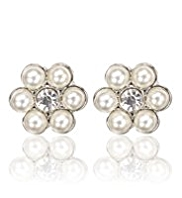 M&S Collection Pearl Effect & Diamanté Floral Stud Earrings