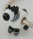Zebra - Glass & Sterling Silver Charm Bead - fits Pandora, Chamilia etc style Bracelets - SpangleBead