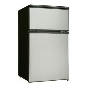 Danby Dcr326Bsl 3.1-Cu.Ft. Dual Door Compact Fridge With Freezer, Black/Stainless