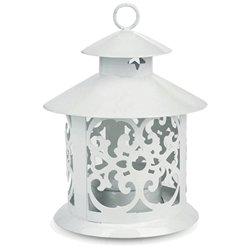 Round Metal Hurricane Lantern For Tea Lights, 5 Inches Tall, White