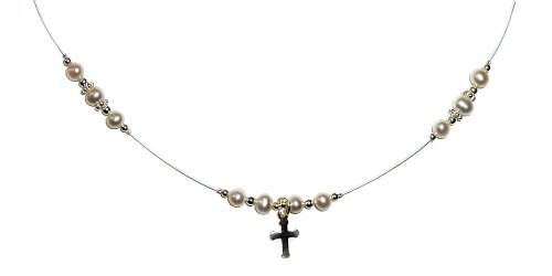 First Communion Necklace (illusion line) Sterling Silver Girls Childrens Jewelry, freshwater pearl necklace beaded on a clear illusion line with an adorable little silver cross