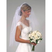 Darice VL3043 Cut Edge Wedding Veil with Comb, 24-Inch, White
