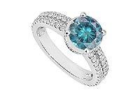 Fancy Blue Diamond Ring : 14K White Gold - 1.75 CT Diamonds
