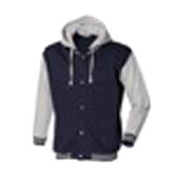 Skinni Fit Men Baseball Detachable Hood jacket - Small, Navy-Heather Grey