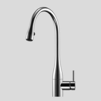 KWC Faucets 10.121.103.150 EVE Pull Down Kitchen Faucet with light, White