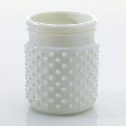 Vintage Hobnail White Milk Glass Jar Candle Holder, Antique Vase, Small