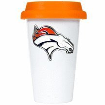 Nfl Denver Broncos Double Wall Tumbler With Silicone Lid, 12-Ounce, White/Orange back-625027