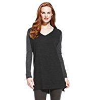 M&S Collection Pure Merino Wool Colour Block Tunic