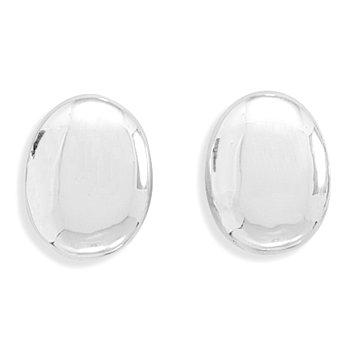 Silverflake -Polished Oval Clip-On Earrings