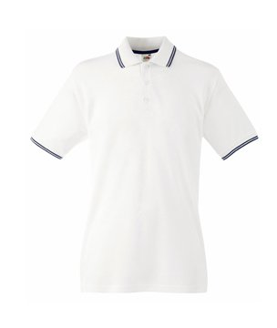 Mens Fruit Of The Loom Tipped Polo T Shirt-White/Deep Navy-X-Large-FREE SHIPPING