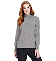 M&S Collection Roll Neck Striped Top with StayNEW™