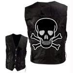 Diamond Plate Leather Vest with Skull Patch Black, BLACK, M