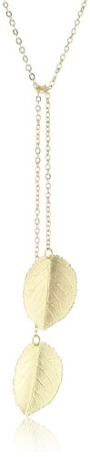 Privileged NYC Gold plated Leaf Lariat Necklace 34