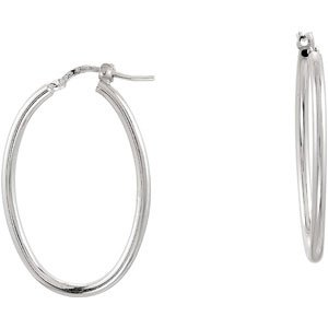 Elegant and Stylish 24.00 X 34.00 MM Oval Tube Earrings in Sterling Silver , 100% Satisfaction Guaranteed.