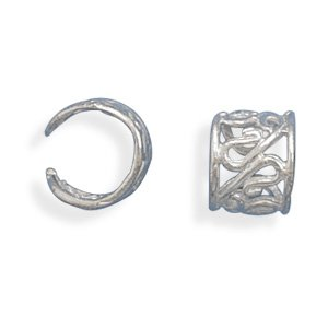 Sterling Silver Polished Scroll Design Earrings Cuffs Ear Cuffs Are 8mm and Sold In Pairs
