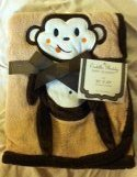 "1 X Beige Applique ""Monkey"" Baby Blanket - 1"